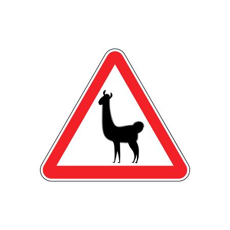 hazardous imperil: Lama Warning sign red. llama Hazard attention symbol. Danger road sign triangle animal