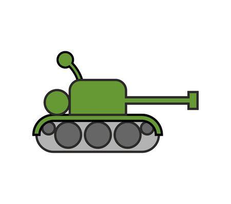 Tank childs drawing style. Fighting war machine isolated Illustration