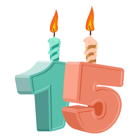 fifteen: 15 years birthday. Number with festive candle for holiday cake. fifteen Anniversary Illustration