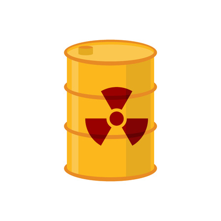 ecological disaster: Chemical waste yellow barrel. Toxic refuse keg. Poisonous liquid cask. Radioactive garbage emissions. environmental pollution. danger of ecological disaster
