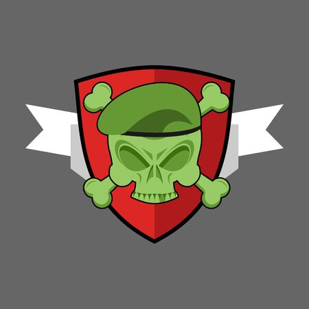 troops: Military emblem. Army for special troops. Soldiers badge. Skull in beret. Crossbones and skeleton head