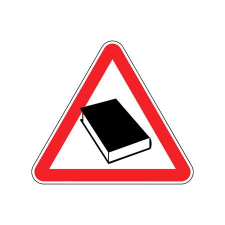 Book Warning sign red. Reading Hazard attention symbol. Danger road sign triangle psalterium Illustration
