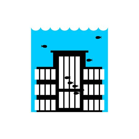Flood Building. Flooding house. many of water architecture. Deluge institution. spontaneous disaster. Tsunami cataclysm city