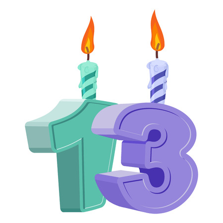 13 years birthday. Number with festive candle for holiday cake. thirteen Anniversary