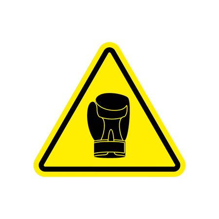 Warning sign boxung. Symbol Hazard attention of dangerous boxer. Danger road sign yellow triangle sport glove Illustration