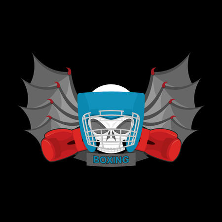 kickboxing: Boxing . Sports emblem. Skull and boxing gloves. Protective helmet. Sign for sports team and club