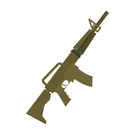 Rifle isolated. Machine gun on white background. Military weapon Illustration