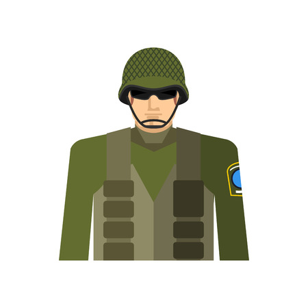 flak: Soldier portrait. Military in protective helmet and flak jacket. Special forces