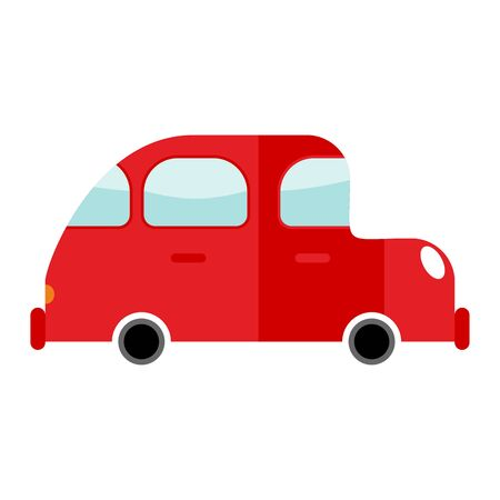 Car red isolated. Transport on white background. Auto in cartoon style