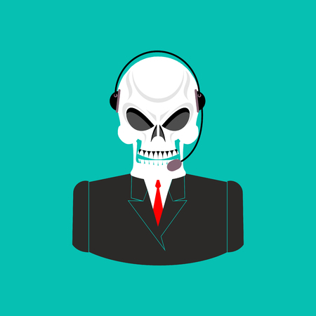 afterlife: Death call center. Skull with headset. Skeleton feedback operator with clients. afterlife Customer Service