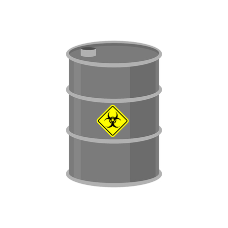nuclear fear: Radioactive waste barrel. Toxic refuse keg. Poisonous liquid cask. Chemical garbage emissions. environmental pollution. danger of ecological disaster Illustration