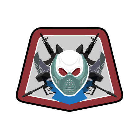 Military emblem. Paintball. Army sign. Skull in protective mask and weapons. Awesome badge for sports teams and clubs Illustration