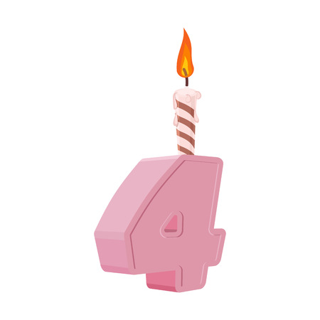 4 years birthday. Number with festive candle for holiday cake. four Anniversary Ilustração