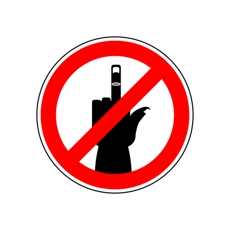 Stop cad sign. middle finger. Red prohibition symbol. You can not swear Illustration