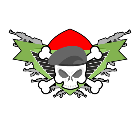 Military emblem. Army . Soldiers badge. Skull in beret. Wings and weapons. Eagle and guns. Awesome sign for troops. blazon commando Illustration