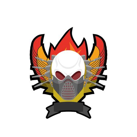 war paint: Paintball . Military emblem. Army sign. Skull in protective mask and weapons. Awesome badge for sports teams and clubs