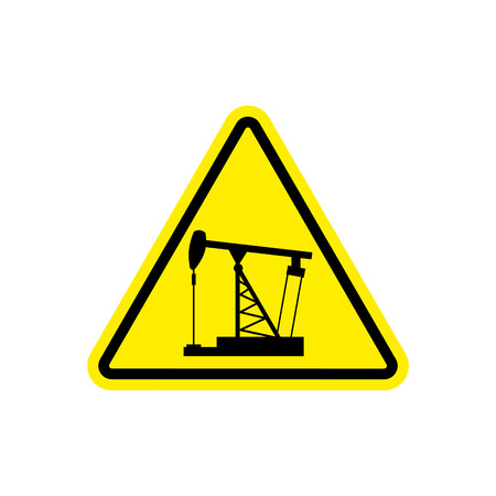 petrol pump: oil derrick Attention sign. Sign warning of dangerous petrol pump. Danger Road Sign yellow Triangle Illustration