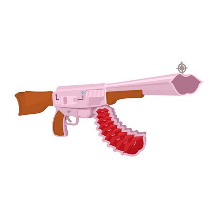 love Weapon isolated. Gunl ammunition heart on white background. Pink weapons Illustration