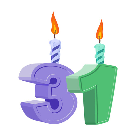 31 years birthday. Number with festive candle for holiday cake. Thirty-one Anniversary Ilustração