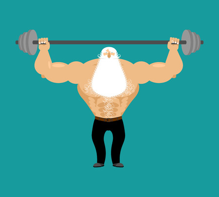 Senior Man athlete and barbell. Strong grandfather fitness. Old man Sports. Powerful greybeard with white beard