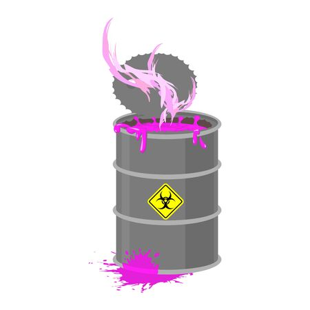 hazardous waste: Radioactive waste barrel. Toxic refuse keg. Poisonous liquid cask. Chemical garbage emissions. environmental pollution. danger of ecological disaster Illustration