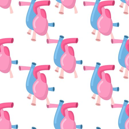 Heart anatomy body seamless pattern. Atrial and ventricular pattern. Veins and arteries background. Anatomical texture Illustration