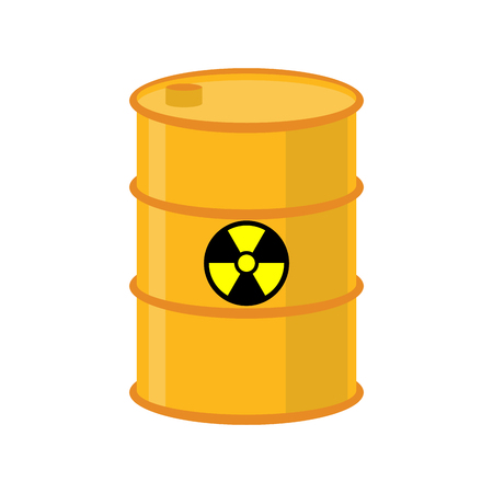 barrel radioactive waste: Chemical waste yellow barrel. Toxic refuse keg. Poisonous liquid cask. Radioactive garbage emissions. environmental pollution. danger of ecological disaster