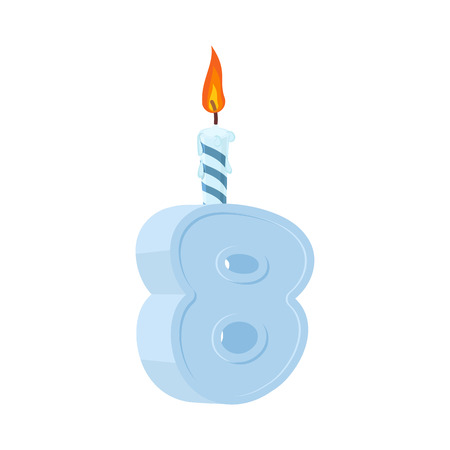 8 years birthday. Number with festive candle for holiday cake. eight  Anniversary Illustration