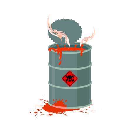 refuse: Toxic waste barrel. Radioactive industry garbage emissions. Chemical refuse keg. Poisonous liquid cask.  environmental pollution. danger of ecological disaster