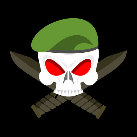 Skull in beret military emblem. Army cap and knife. Terrible sign for clothing soldiers Vetores