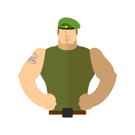batallón: retrato soldado. Militar en la boina verde. Fuerzas especiales Vectores
