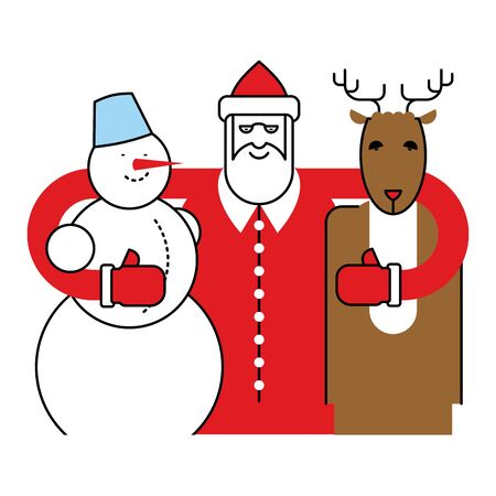 carrot nose: Santa, Snowman and Reindeer. Christmas character. Friends for New Year