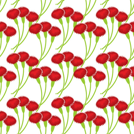 flower ornament: ?arnation seamless pattern. Flower bouquet background. Three red flowers ornament Illustration