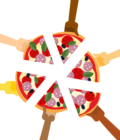 People eating pizza. Hands holding slice of pie. Friendship illustration. Joint lunch