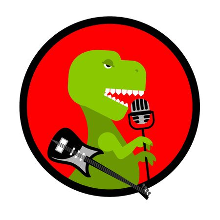 Dino rock. Tyrannosaurus sings song. Dinosaur with guitar. Ancient predator and microphone