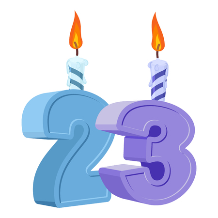 23 years birthday. Number with festive candle for holiday cake. twenty three Anniversary