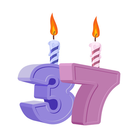 37 years birthday. Number with festive candle for holiday cake. Thirty seven Anniversary Ilustração