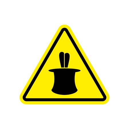 Magic Trick Warning sign yellow. illusion Hazard attention symbol. Danger road sign triangle Bunny in hat