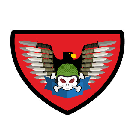 troops: Army Skull. Soldiers badge. Military emblem. Wings and weapons. Eagle and guns. Awesome sign for troops. blazon commando Illustration
