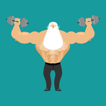 retired: Retired athlete and dumbbells. Strong Santa fitness. Old man Sports. Powerful Senior Man with white beard