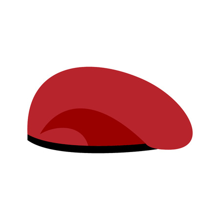 upturned: Beret military red. Soldiers cap. army hat. War barret