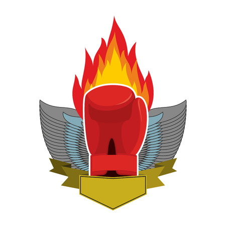 Boxing . Gloves and wings. Emblem for sports team and fight club. Combat badge for athletes Illustration