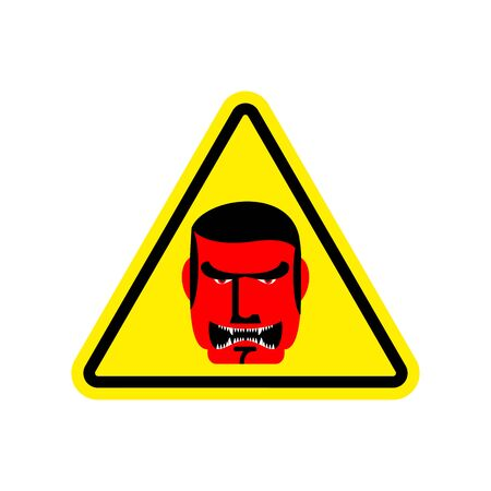 Angry Boss Warning sign yellow. Evil Head Hazard attention symbol. Danger road sign triangle terrible Director Illustration