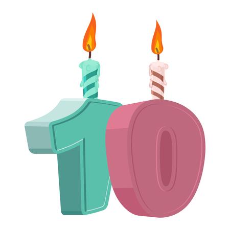 10 jaar verjaardag. Nummer met feestelijke kaars voor vakantie cake. tienjarig jubileum