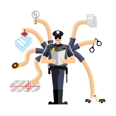 fined: Police work. Officer on duty. Detention of criminals. Handcuffs and donut. Cop investigation. Policeman fined