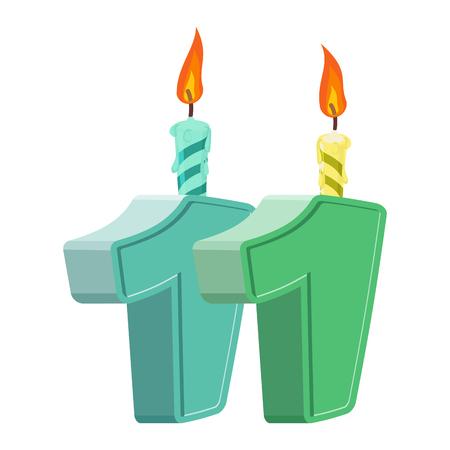 11 歳の誕生日。休日のケーキのお祝いキャンドルの番号です。11 周年記念
