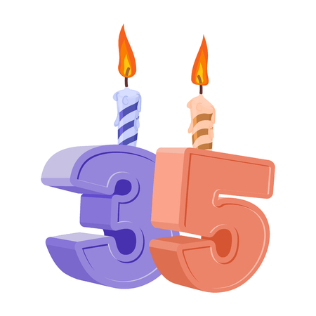 thirty five: 35 years birthday. Number with festive candle for holiday cake. Thirty five Anniversary