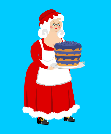 Mrs. Claus and blueberry cake. Wife of Santa Claus and dessert. Christmas woman in red dress and white apron. Xmas feale