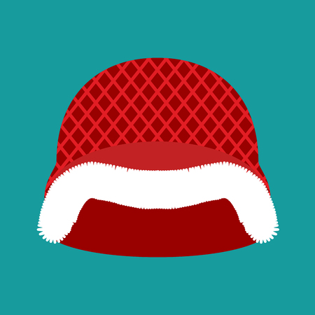 christmas military: Santa Claus Helmet. Red Military hard hat with fur. Army Christmas Winter warm hat Illustration
