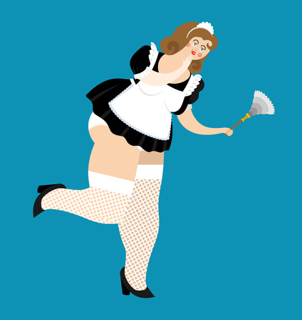 Sexy maid in short dress. sensual cleaning woman. Girl in white lingerie and stockings. Stockings and Slender legs. Suit for sex games. Smiling lady cleaning classic shape with duster. Cartoon temptress